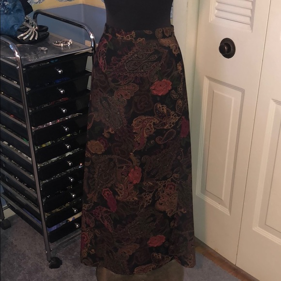 Notations Dresses & Skirts - Notations 1x faux suede maxi skirt floral paisley